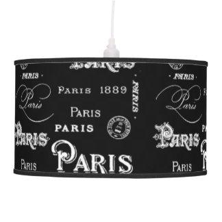 Lámpara pendiente de la letra negra de París
