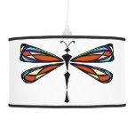 Lámpara pendiente de la libélula del vitral