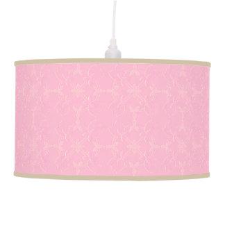 Lámpara pendiente grabada en relieve del rosa del
