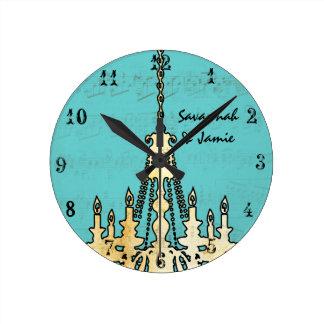 Lámpara personalizada de la nota musical cualquier reloj redondo mediano