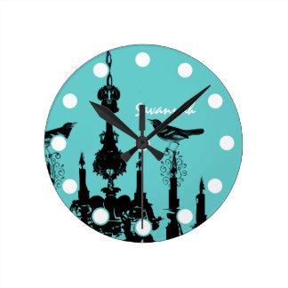 Lámpara personalizada del pájaro del AMOR de la Reloj Redondo Mediano