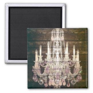lámpara púrpura de madera del granero rústico de imán cuadrado