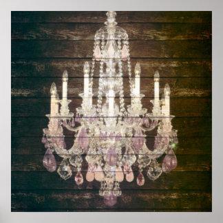 lámpara púrpura de madera del granero rústico de póster