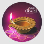 Lámpara púrpura hermosa de Diwali del fondo Pegatina Redonda