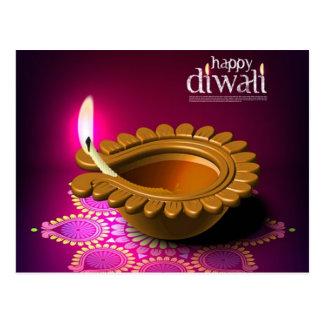 Lámpara púrpura hermosa de Diwali del fondo Postales