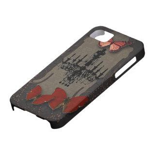 Lámpara roja del negro de la mariposa de Steampunk iPhone 5 Carcasa