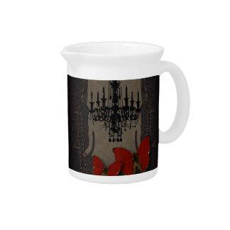Lámpara roja del negro de la mariposa de Steampunk Jarras De Beber