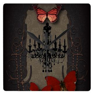 Lámpara roja del negro de la mariposa de Steampunk Reloj Cuadrado