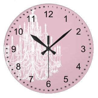 Lámpara rosada elegante reloj redondo grande