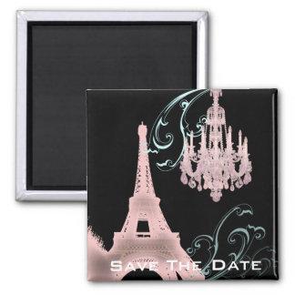 Lámpara rosada París que casa SaveTheDate Imán De Frigorifico