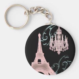 Lámpara rosada París que casa SaveTheDate Llaveros Personalizados