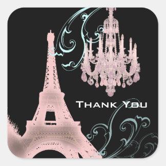 Lámpara rosada París que casa SaveTheDate Calcomanía Cuadradase