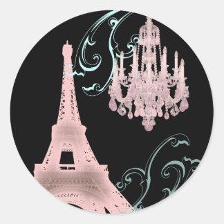 Lámpara rosada París que casa SaveTheDate Pegatina