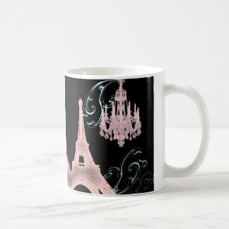 Lámpara rosada París que casa SaveTheDate Tazas