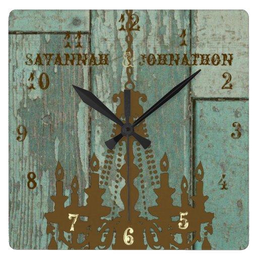 Lámpara rústica vieja elegante de madera de la agu reloj de pared