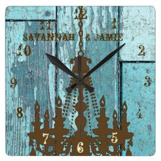 Lámpara rústica vieja personalizada de madera de reloj cuadrado