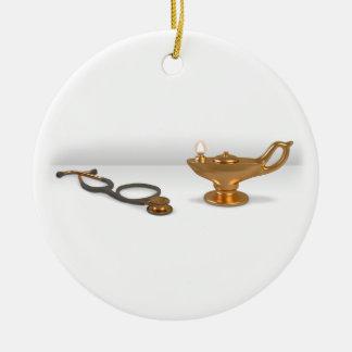 Lámpara y estetoscopio del oficio de enfermera adorno redondo de cerámica