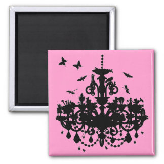 Lámpara y mariposas rosadas imán cuadrado