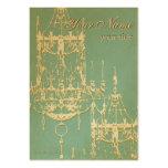 Lámparas elegantes del oro con el fondo de la turq plantilla de tarjeta personal
