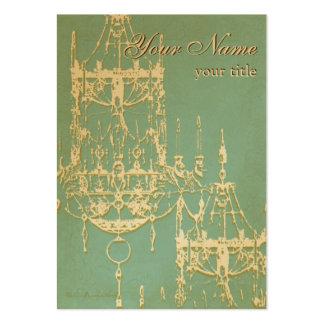 Lámparas elegantes del oro con el fondo de la turq tarjetas de visita grandes