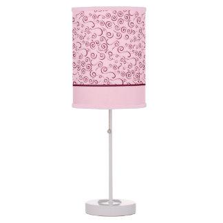 Lámparas rosadas bonitas con remolinos rojos lámpara de mesilla de noche