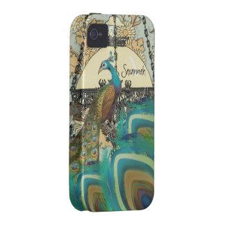 Lámparas y plumas del pavo real del vintage vibe iPhone 4 funda