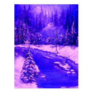 LampLight Holiday Design Blue Postcard