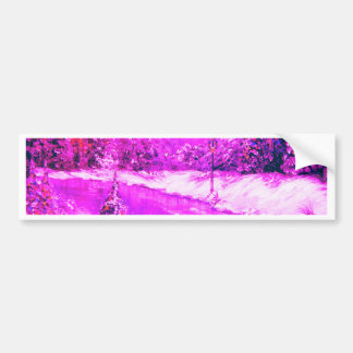 LampLight Winter Holiday Design Pink Bumper Sticker