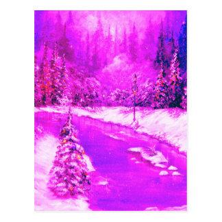 LampLight Winter Holiday Design Pink Postcard
