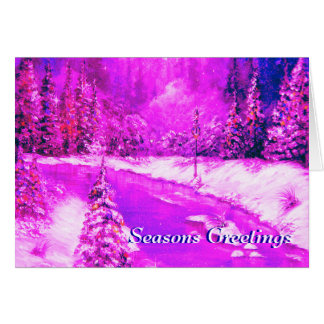 Lamplight Winter Snow Design Pink Card