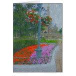 Lampost y notecard de la pintura del jardín tarjeta