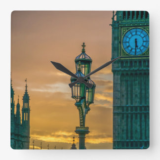 Lamppost and Big Ben square wall clock