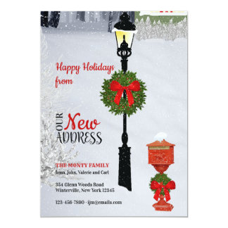 Lamppost and Mailbox New Address Holiday Card