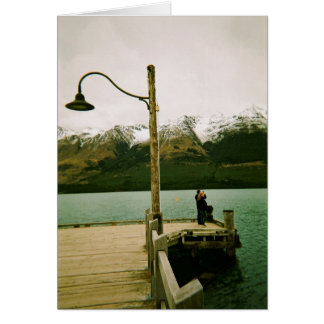 Lamppost and Mountains - New Zealand Card