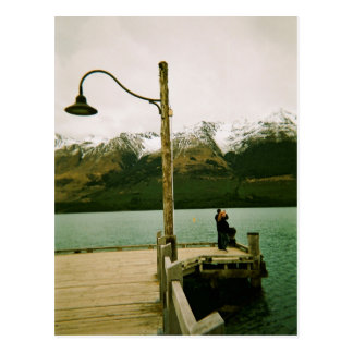 Lamppost and Mountains - New Zealand Postcard