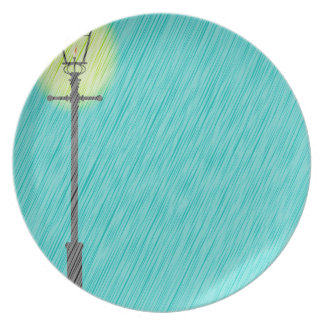 Lamppost In the Rain Plate