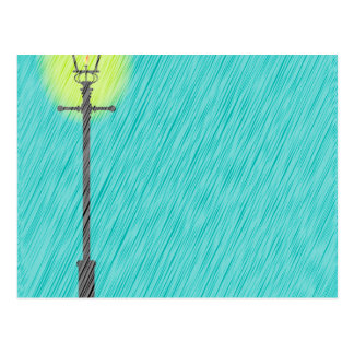 Lamppost In the Rain Postcard