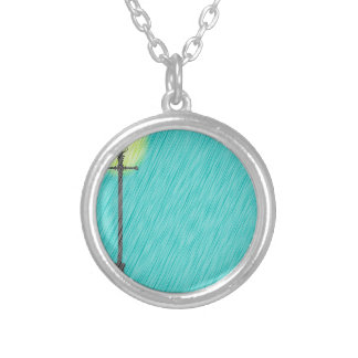 Lamppost In the Rain Silver Plated Necklace