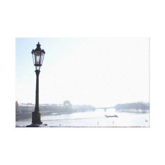 Lamppost on Charles Bridge (Prague) Canvas Print