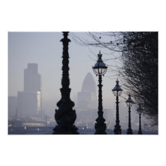 Lampposts by River Thames Poster
