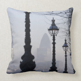 Lampposts by River Thames Throw Pillow