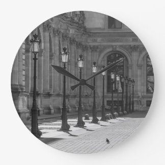 Lampposts in black and white wall clock