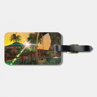 Lamps boat at the jetty in the sunset travel bag tags