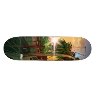 Lamps boat at the jetty in the sunset custom skateboard