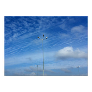 Lamps under  the blue sky poster