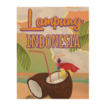 Lampung Indonesia vintage holiday poster. Wood Print