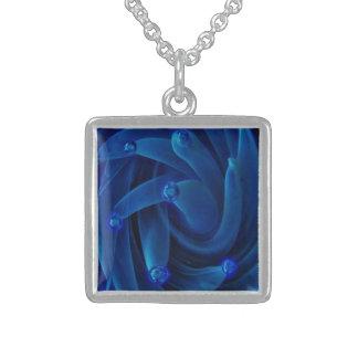Lampwork Boro 3D Neon Blue Glass Space Nebula Square Pendant Necklace