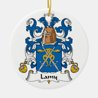 Lamy Family Crest Double-Sided Ceramic Round Christmas Ornament