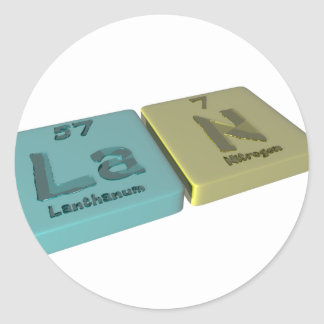 Lan as Lanthanum La and Nitrogen  N Classic Round Sticker