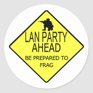 Lan Party Ahead Round Stickers